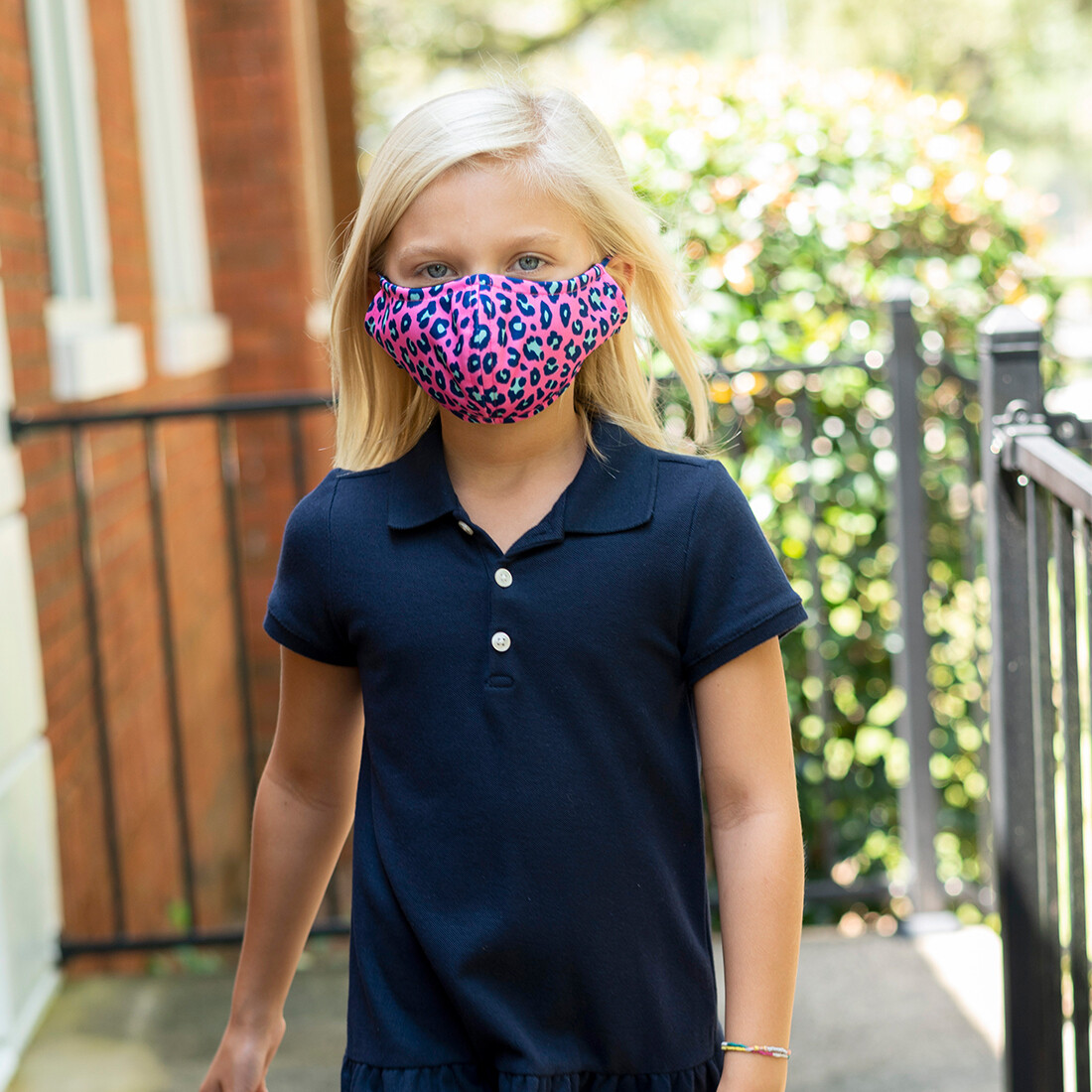 Hot Pink Leopard Adjustable Kids' Face Mask