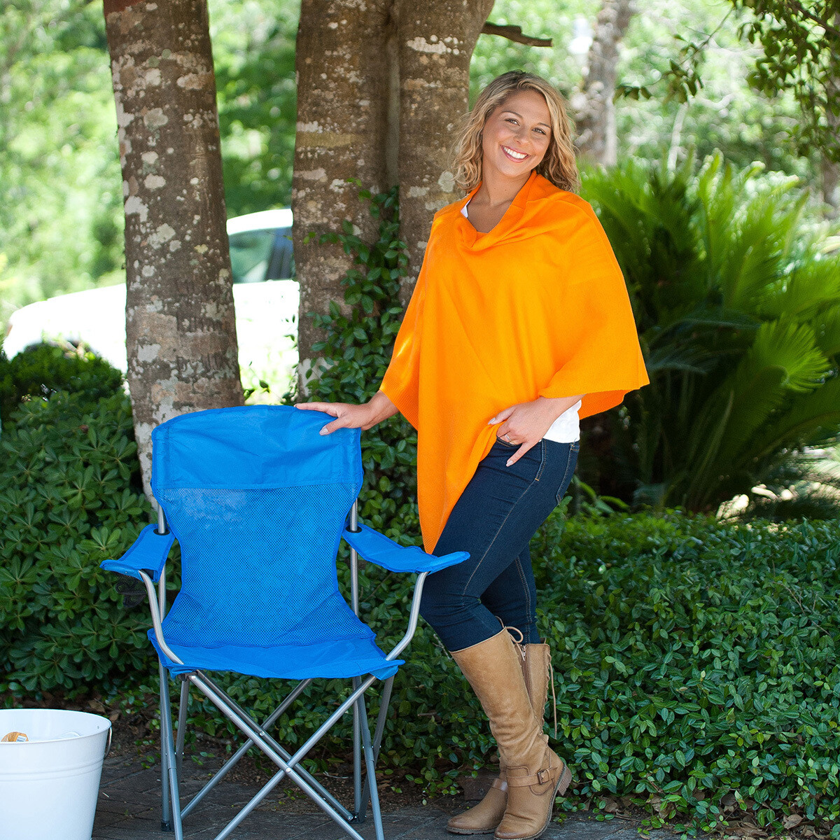 Orange Chelsea Poncho