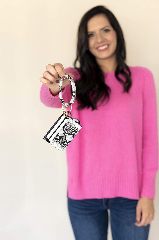 Snakeskin Card Holder Keychain Bracelet