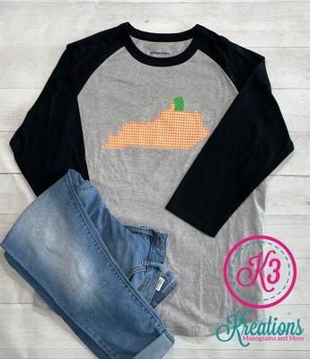 Youth Kentucky State Pumpkin Sport-Tek Baseball Tee