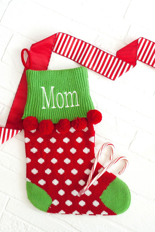 Red Dot Pom-Pom Knit Stocking