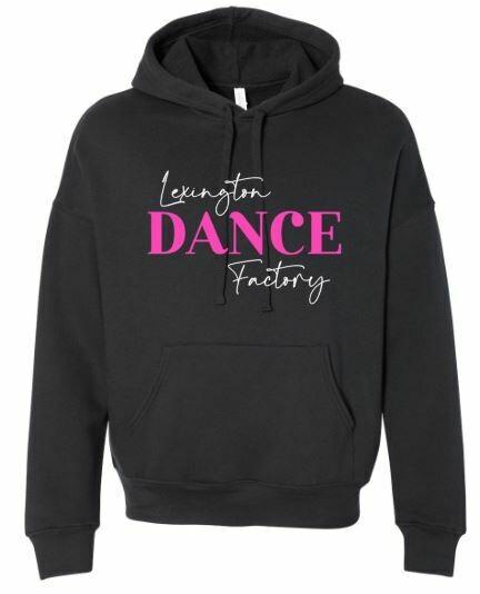 Lexington Dance Factory Black Sponge Fleece Drop Shoulder Hoodie (Youth & Adult) (LDF)