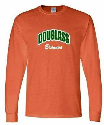 Gildan Long Sleeve T-Shirt - Douglass Broncos Applique (FDGS)
