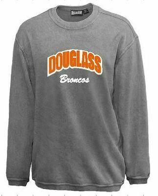 Douglass Broncos Sport Twill Applique Sandwash Crewneck (FDGS)
