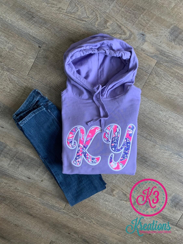 KY Lilly Print Purple Hooded Sweatshirt