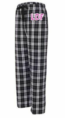 Girls/Ladies LDF Black & White Plaid Flannel Pajama Pants (Youth & Adult)
