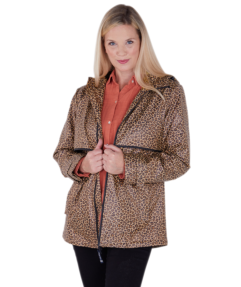 Ladies Charles River Leopard Print New Englander Rain Jacket