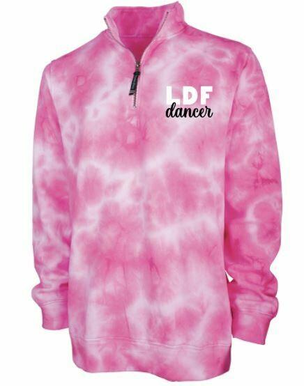 Ladies Pink Tie-Dye LDF Dancer Quarter Zip Sweatshirt