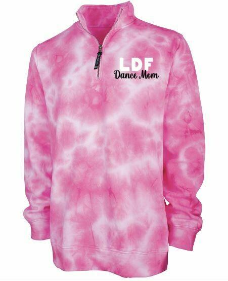 Ladies Pink Tie-Dye LDF Dance Mom Quarter Zip Sweatshirt
