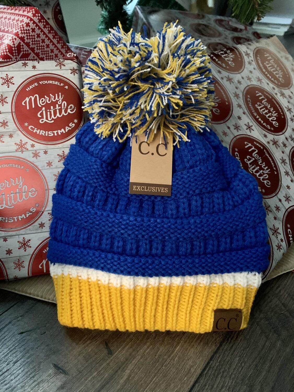 Blue/Yellow CC Beanie Hat with Pom