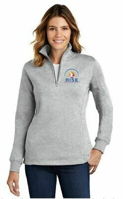 RISE Ladies 1/4 Zip Fleece Pullover with choice of logo