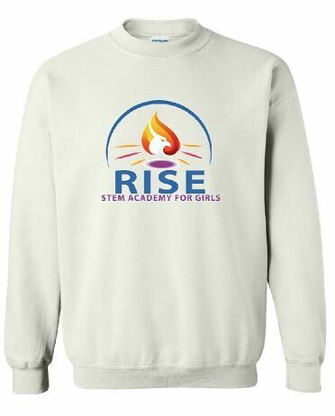 RISE Unisex Crewneck Sweatshirt with full logo on front chest - YOUTH SIZING