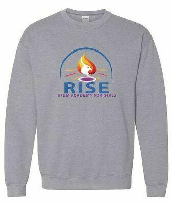 RISE Unisex Crewneck Sweatshirt with full logo on front chest - ADULT SIZING