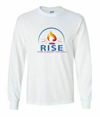RISE Unisex Long Sleeve Tee with full logo on front chest - ADULT SIZING