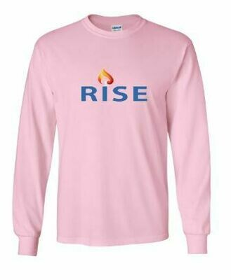 RISE Unisex Long Sleeve Tee with Rise logo on front chest - ADULT SIZING