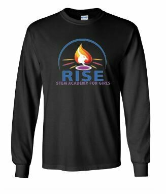 RISE Unisex Long Sleeve Tee with full logo on front chest - YOUTH SIZING