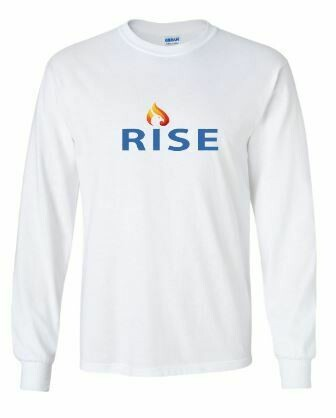 RISE Unisex Long Sleeve Tee with Rise logo on front chest - YOUTH SIZING