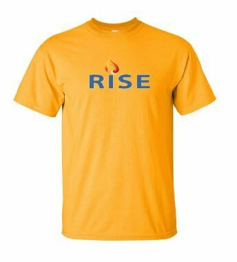 RISE Unisex Short Sleeve Tee with Rise logo on front chest - ADULT SIZING