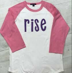 RISE Blanket Stitch Sparkle Applique Baseball T-shirt - YOUTH SIZING (Create your own color combo)