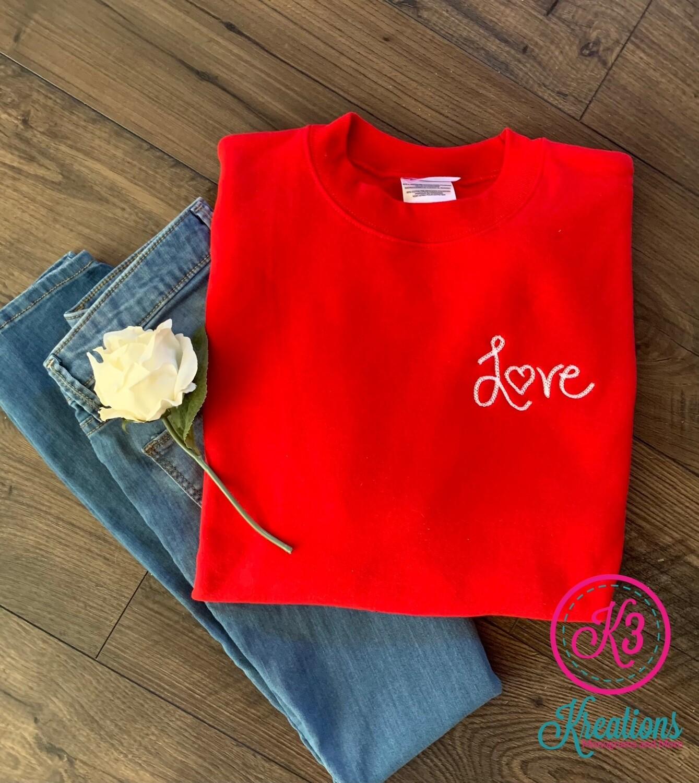 Love Double Chain Stitch Red Crewneck Sweatshirt