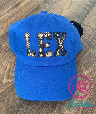 LEX Snakeskin Applique Distressed Cap