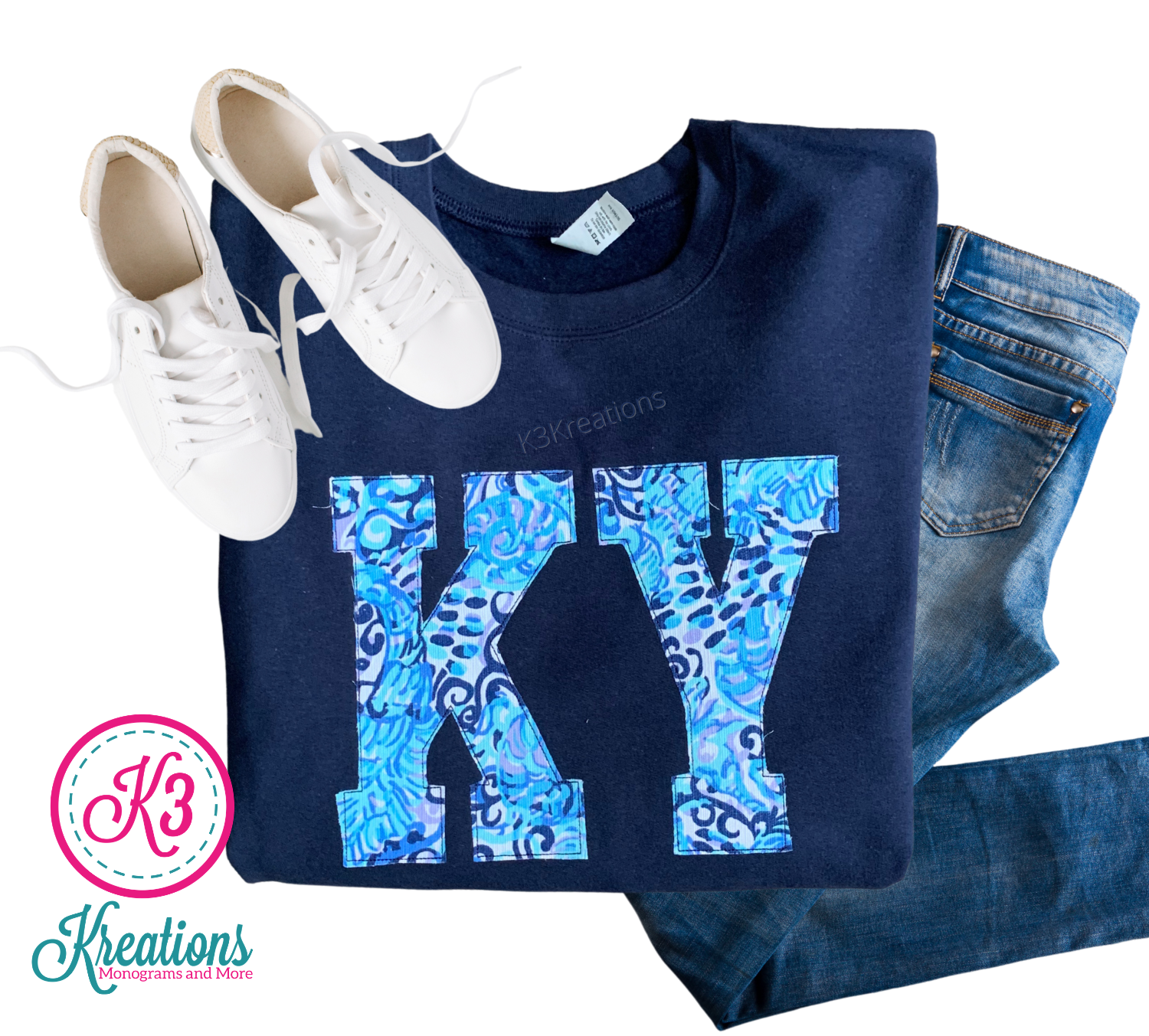 Adult KY Lilly Print Navy Crewneck Sweatshirt