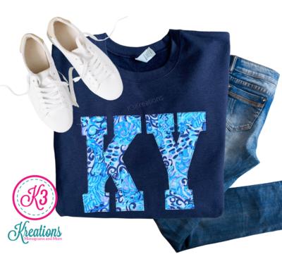Adult KY Lilly Print Navy Crewneck Sweatshirt