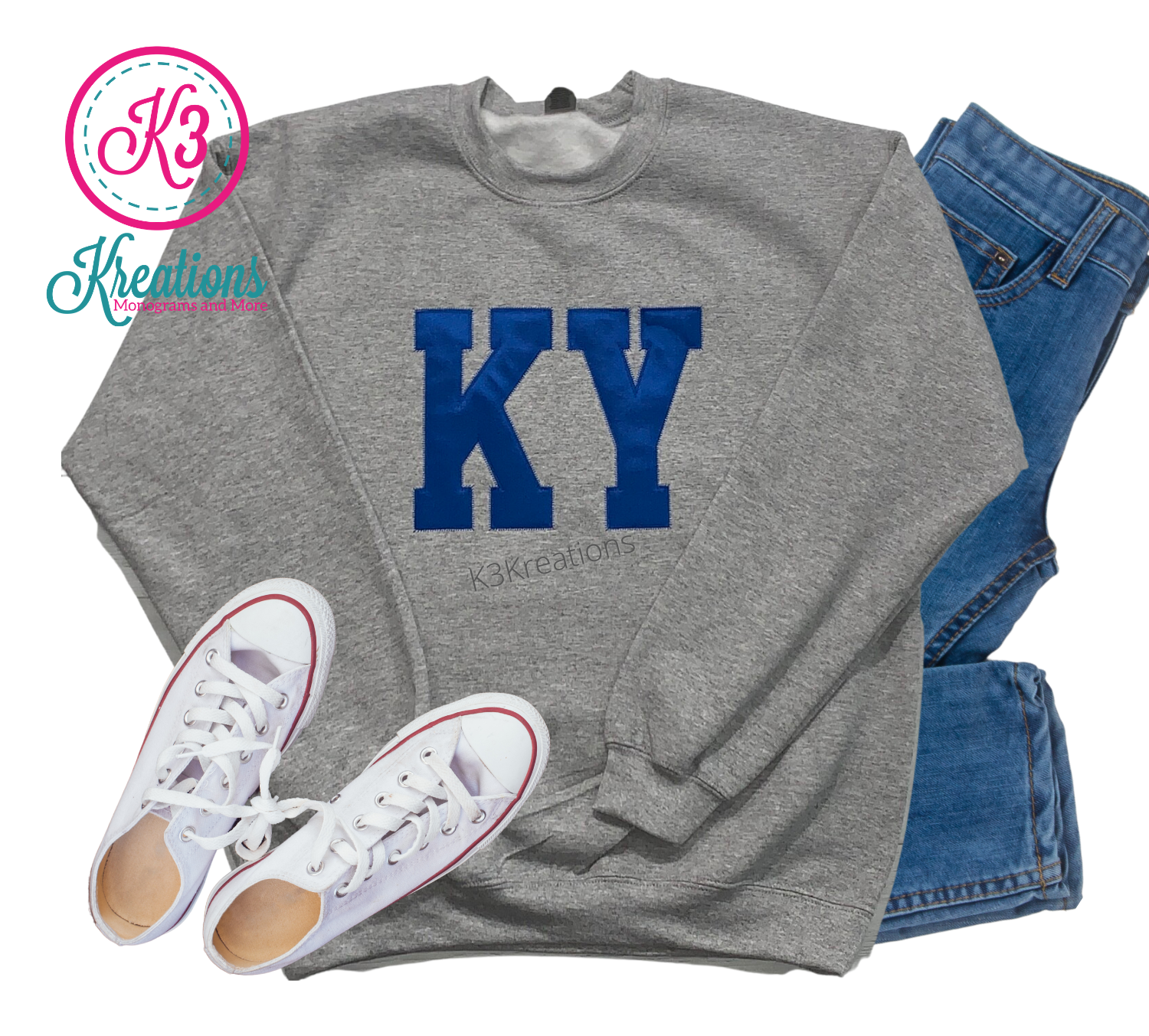 Adult KY Applique Crewneck Sweatshirt (Choose shirt color and fabric)