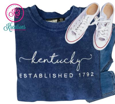 Adult Royal Sand Wash Script Kentucky Established 1792 Crewneck Sweatshirt