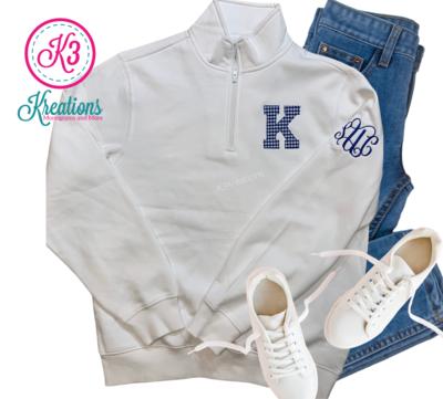 Adult K Quarter Zip White Sweatshirt