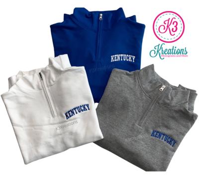 Adult Kentucky Embroidered Quarter Zip Sweatshirt