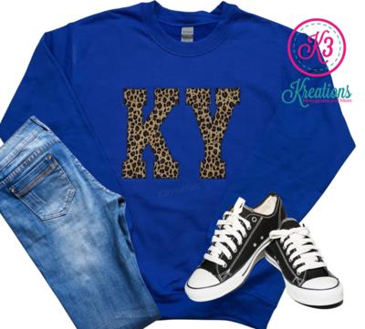 Adult KY Leopard Royal Blue Crewneck Sweatshirt