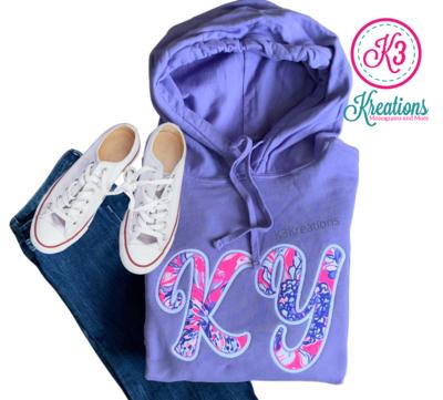Adult KY Lilly Print Purple Hooded Sweatshirt