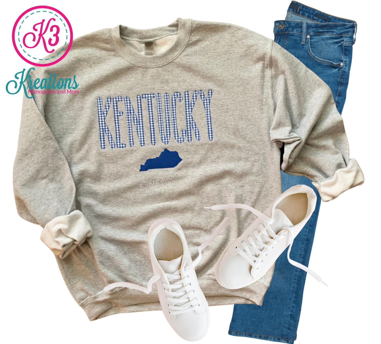 Adult Gingham Embroidered Kentucky State Gray Crewneck Sweatshirt