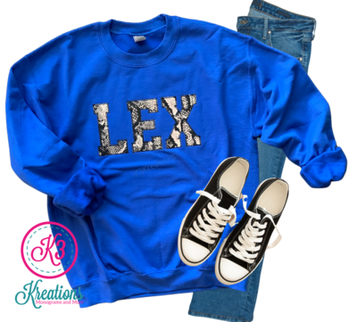 Adult LEX Snakeskin Royal Crewneck Sweatshirt