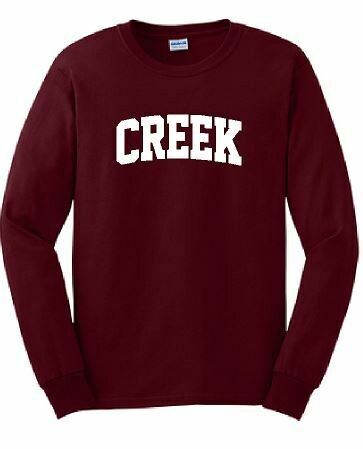 CREEK Unisex Long Sleeve  YOUTH and ADULT - Choice of Design Fabric (TCDT)