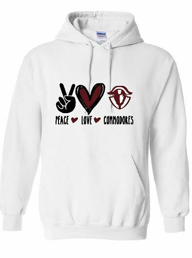 Peace Love Commodores Unisex Hoodie - YOUTH and ADULT (HCDT)