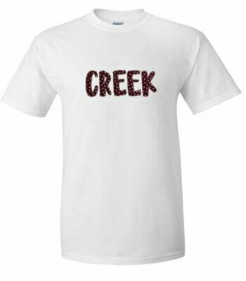 CREEK Fun Font Unisex Short Sleeve  YOUTH and ADULT - Choice of Design Fabric (TCDT)