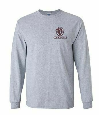 Commodores Mascot Left Chest Unisex Long Sleeve -  YOUTH and ADULT -  (TCDT)