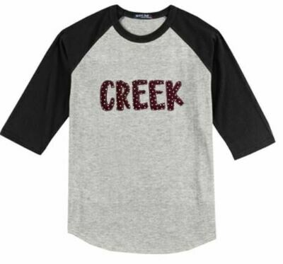 CREEK Fun Font Baseball Jersey - YOUTH and ADULT - Choice of Design Fabric (TCDT)