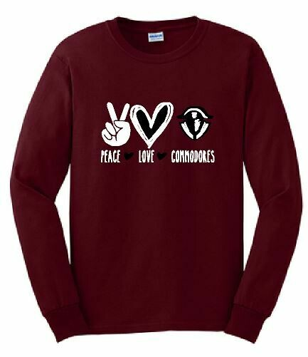 Peace Love Commodores Unisex Long Sleeve  YOUTH and ADULT (TCDT)