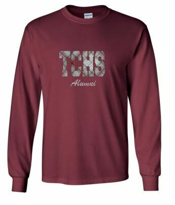 TCHS Alumni Applique Unisex Long Sleeve  YOUTH and ADULT - Choice of Design Fabric (TCDT)
