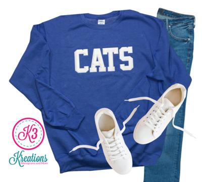 Adult Kentucky CATS Applique Crewneck Sweatshirt (Choose shirt color and fabric)