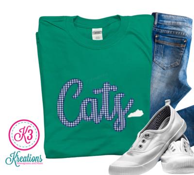 Adult Cats Gingham Script Green Short Sleeve T-Shirt