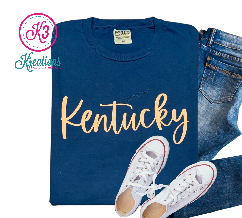 Adult Neon Blue Kentucky State Script Short Sleeve Tee