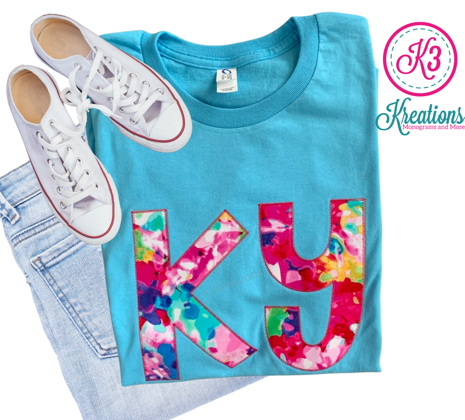 Adult Ky Floral Watercolor Aqua Short Sleeve Tee