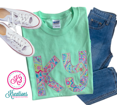 Adult Ky Floral Paisley Lime Short Sleeve Tee