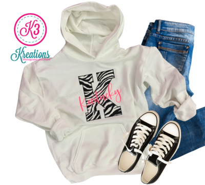 "Youth ""K"" Kentucky Zebra Print White Hooded Sweatshirt"