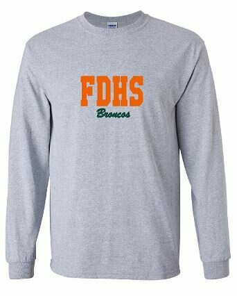 FDHS Broncos Applique Unisex Long Sleeve with choice of Fabric (FDL)