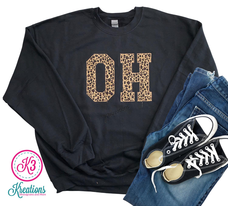 Adult State Applique Crewneck Sweatshirt (Choose shirt color and fabric)